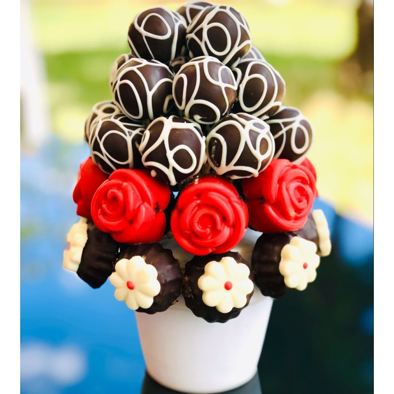 Cake & truffle / Lezzetli Çikolata Kaplı Kek Kurabiye ve Truffle Buketi