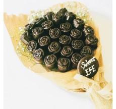 Gül Buketim / Lezzetli Bitter Çikolata  Kaplı Fındıklı Kek Buketi