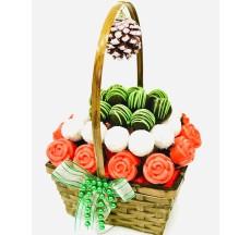 Mutlu Yıllar Sepeti / Lezzetli Çikolata Kaplı Kek ve Truflle Sepeti