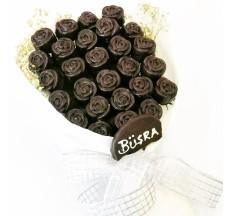 Aşkın En Doğal Hali / Lezzetli Fındıklı Çikolata Kaplı Gül Buketi
