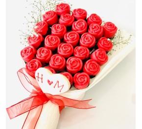 Kırmızı Beyaz Gül Buketim / Lezzetli Fildişi Çikolata Kaplı Gül Buketi
