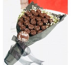 Siyah Gül Buketim / Lezzetli Bitter Çikolata Kaplı Gül Buketi